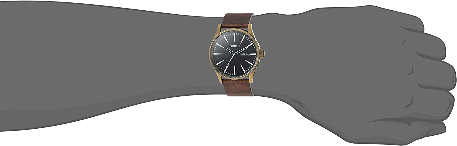 Nixon Men's A105 Sentry 42mm Stainless Steel Leather Quartz Movement Watch Black & Brass Face/Brown Leather Band
