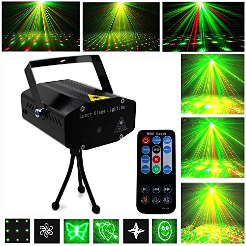 Green Laser Stage Light (LED Stage Light - LED Lights LED DJ Lights Portable Mini LED Party Lights 6 Multi-Patterns Red and Green Stage LED Light Sound Activated Party Projector Lights With Wireless Remote)