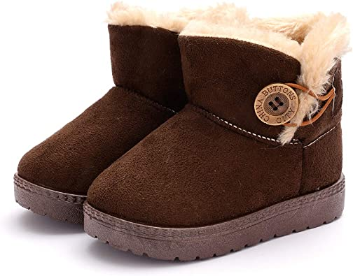 Winter Kids Snow Boots Suede Toddler Fur High Top Plush Outdoor Non-slip Flats