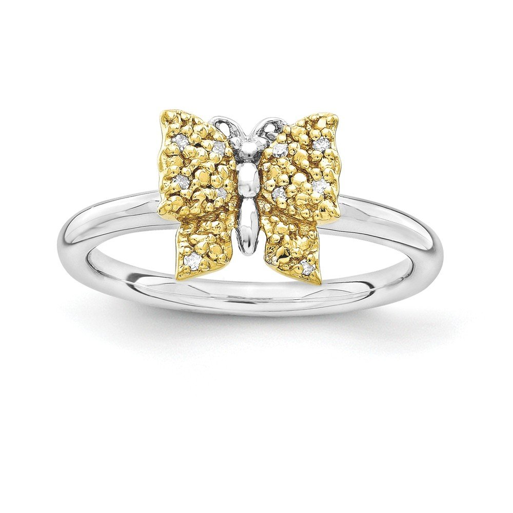 Sterling Silver&14k YG-plated Stackable Expressions Diamond Butterfly Ring Size 8
