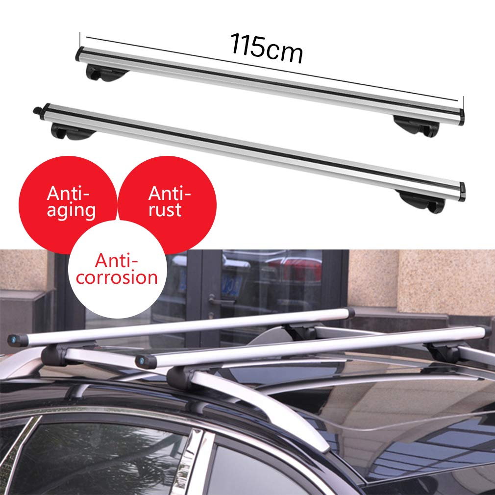 Burrby Universal Aluminium Car Roof Rack Bars aluminum Car bars rails 115cm lockable load carrier roof rack max weight 90kg
