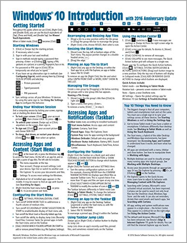 Windows 10 Introduction with 2016 Anniversary Update Quick Reference Guide (Cheat Sheet of Instructions, Tips & Shortcuts...