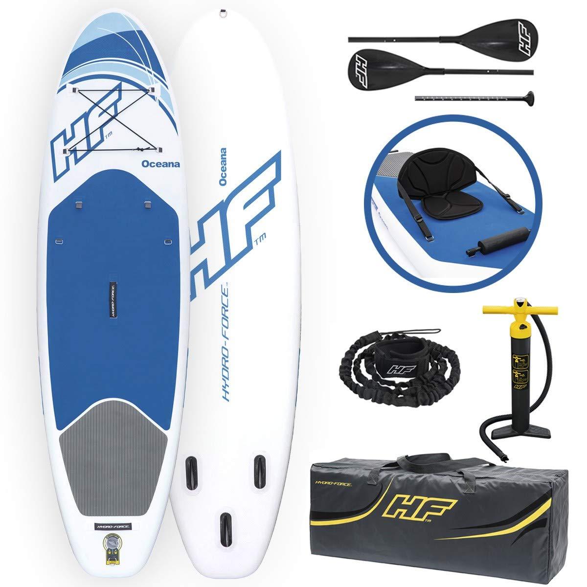 BEST WAY (BES)- Bestway Hydro-Force iSUP Oceana 305x84x12 cm, aufblasbares Stand Up Paddle Allrounder-Board mit Kajak-Sitz TAVOLA Surf 305x84x12 Remi, Multicolore, 123