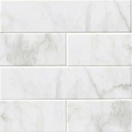 GLOSSY WHITE CARRARA Subway Backsplash Tile Ceramic X KITCHEN - 16 x 16 white ceramic floor tile