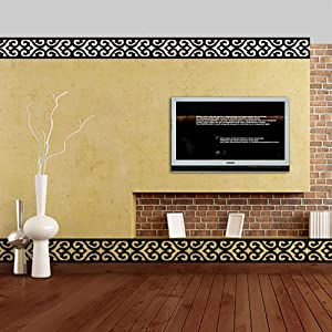 ITTA X-Large 28pcs x 20x10cm Mirror Border Stickers DIY 3D Acrylic Wall Decorative Self-Adhesive Hollow Out Border Ceiling Skirting Stickers Wall Mural Wedding Room Home Decor (Black)