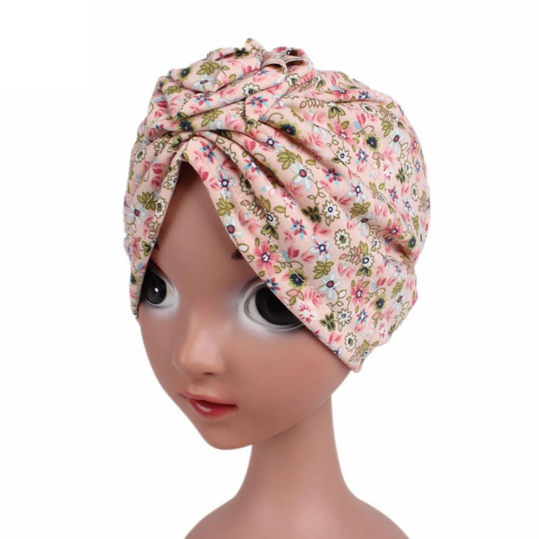 Tiean Children Baby Girls Boho Hat Beanie Scarf Turban Head Wrap Cap Pink
