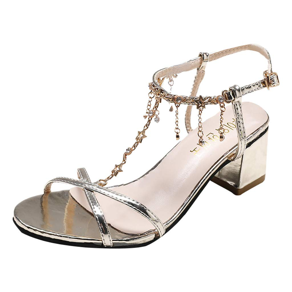 Women Sandals, LIM&Shop  Summer Flat Sling Back Crystal Dance Shoe Casual Block Heel Criss Cross Slipper Soft Non-Slip Gold
