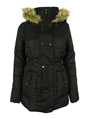 Krush Faux-Fur-Hood Puffer Coat Small Black Button With Zip