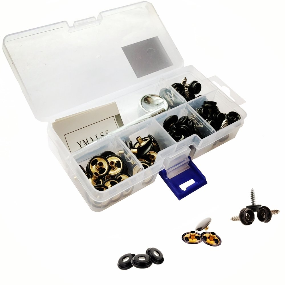 "YMAISS 60pcs Fastener Screw Snaps kit in Box, Marine Grade 3/8""Socket with Stainless Steel 5/8""Screw with 2pcs Setting Tools,Upholstery Snaps for Boat Canvas,Cover.Black Color"