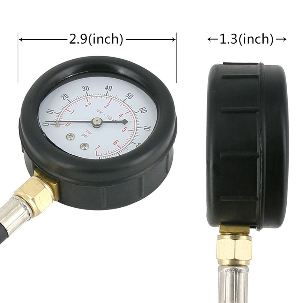 Autool TU-12 0-100psi Engine Oil Pressure Tester Pressure Gauge Test Tool Kit Auto Pressure Tester