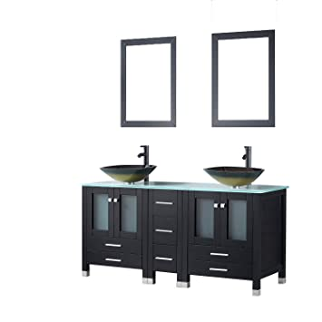 Sliverylake 60 Black Mdf Double Bathroom Vanity Cabinets And Vessel