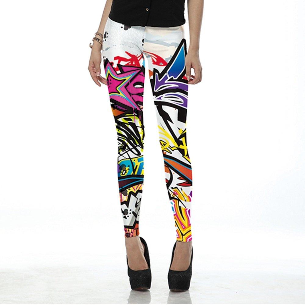 MAYUAN520 Moda Leggins Colorate di Fumetti Stampati scarabocchi Leggins Donna Femmina Leggings Donne Pant,KDK1429,L