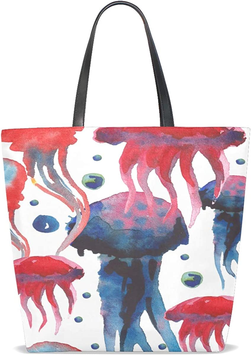 Xl Tote Bag For Women Handle Satchel Luggage Shoulder Bag Purse Messenger Bags 3d Handbags Beautiful Water Creature Jellyfish Printing Womens Tote Bags For Work