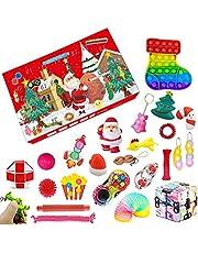 Adventskalenders Fidget Toys Pack voor kinderen, 24 dagen kerst adventskalender Fidget speelgoed doos, zintuiglijke pop bubble Fidget speelgoed voor Xmas Party gunst (14, OneSize)