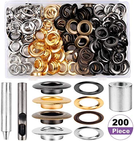 1/2inch Grommet Kit 100 Sets Grommets Eyelets3 Pieces Install Tool Kit 4 Colors Grommets KitStorage Box for Craft Making Repair and Decoration