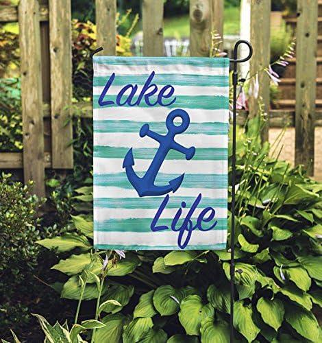 Lago vida bandera de Jardín, decoración del jardín, verano bandera, bandera de lago, azul Anchor pancarta, azul y blanco patio Banner.: Amazon.es: Jardín