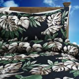 Tropical Hibiscus Black Tropical Paradise Bedding Set By Dean Miller - King Size Duvet Cover with King Shams