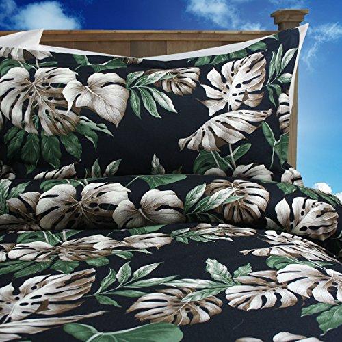 Tropical Hibiscus Black Tropical Paradise Bedding Set By Dean Miller - King Size Duvet Cover with King (Hawaiian Floral Bedding)