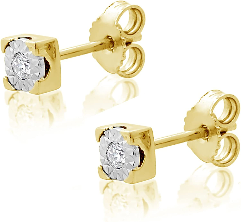 MILLE AMORI ∞ Pendientes Mujer Oro y Diamantes - Oro Amarillo 9 Kt 375 ∞ Diamantes 0.02 Kt