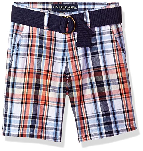 U.S. Polo Assn. Boys' Toddler Short, Walking Plaid Warm Coral, -