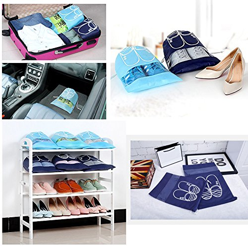 Pack of 10 Dust-proof Breathable Travel Shoe Organizer Bags for Boots, High Heel - Drawstring, Transparent Window, Space Saving Storage Bags, Medium Size, Sky Blue by WESTONETEK (Image #4)