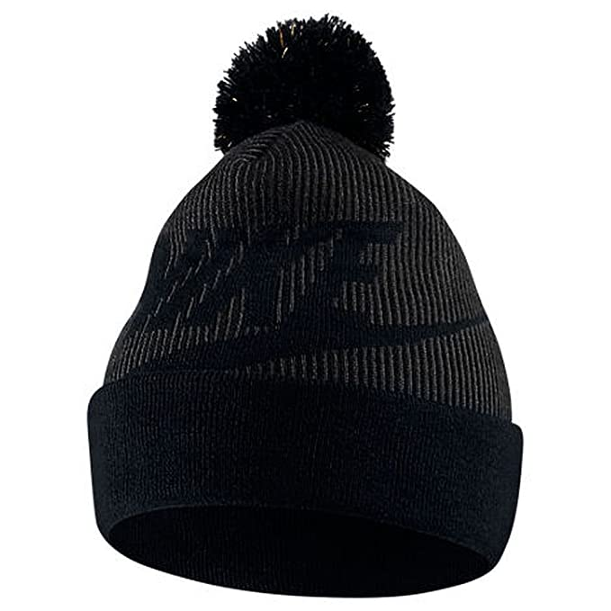 04d75fae76090 ... reduced nike sportswear womens removable pom knit beanie hat black  anthracite metallic 68cde 364b6