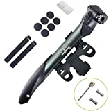 WOTOW Mini Double Inlet Bike Pump, Portable on Bike Pump Fit Presta and Schrader with Repair Kit, Metal Rasp, Tire Pry Bars, Glueless Tyre Patches for Frame Mounted Road Mountain BMX Gift