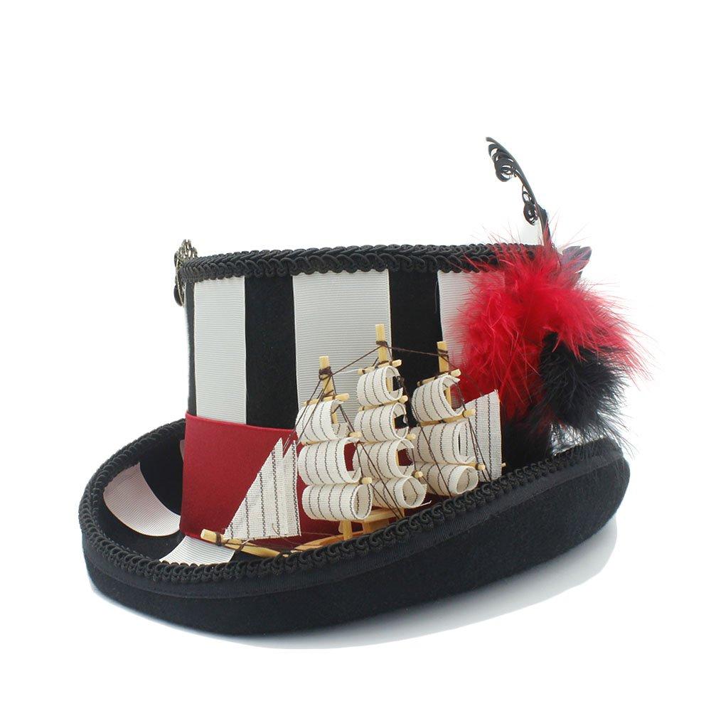 YQXR Moda Sombreros Papel de pirata para dama jugando con gorro 100% lana steampunk (Color : Negro, Size : 59CM)