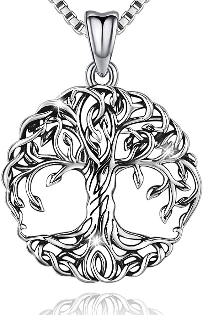 Friggem Collier en Argent Sterling 925 Pendentif Arbre de Vie D/élicat Pour Femme Fille Avec Bo/îte-Cadeau Cha/îne 46cm