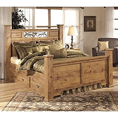 Ashley Bittersweet Wood King Double Drawer Panel Bed in Light Brown