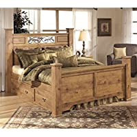 Ashley Bittersweet Wood Queen Double Drawer Panel Bed in Light Brown