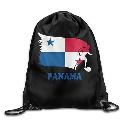 guolinadeou Panama Football Soccer Flag Drawstring Backpack Beam Mouth School Travel Backpack Shoulder Bags For Men