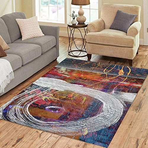 Artist Studio Collection Rug - Semtomn Area Rug 3' X 5' Red Nice of Large Scale Original Oil Painting Blue Home Decor Collection Floor Rugs Carpet for Living Room Bedroom Dining Room