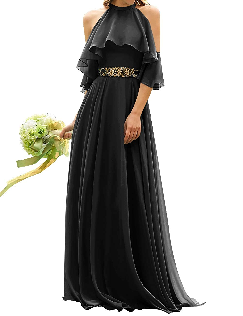 Black Uther Long Bridesmaid Dress Cold Shoulder Beaded Ruffle Sleeves Wedding Party Dresses