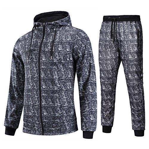 Discount FZDX Men's Sport Casual Zipper Hoodies Pants Tractsuit (2 Pieces)