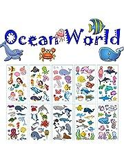 10 Sheet Temporary-Tattoos-for-Kids Tattoos Stickers Cartoon Theme Fake Tattoos for Children Boys Girls Birthday Gift Party Supplies Birthday Decorations(Ocean World)