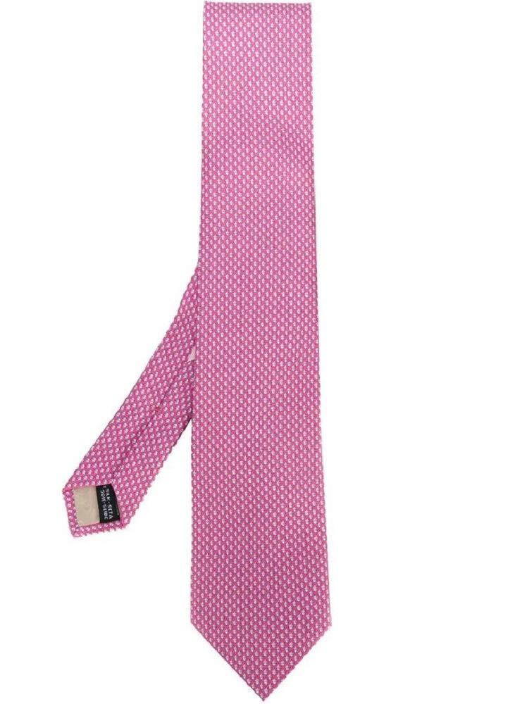 Salvatore Ferragamo Pink Acorn Silk Neck Tie