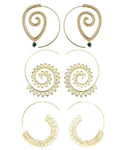 9 Pairs Golden Bohemian Vintage Tribal Swirl Spiral Hoop Earrings Set For Women 6cJUuS
