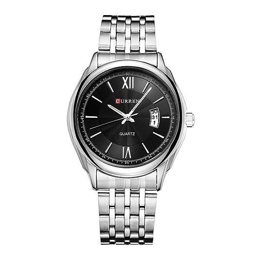 Relojes para hombre Mejor marca Lujo Reloj de cuarzo Dial negro Negocio Watch Relojes de pulsera masculinos: Amazon.es: Relojes