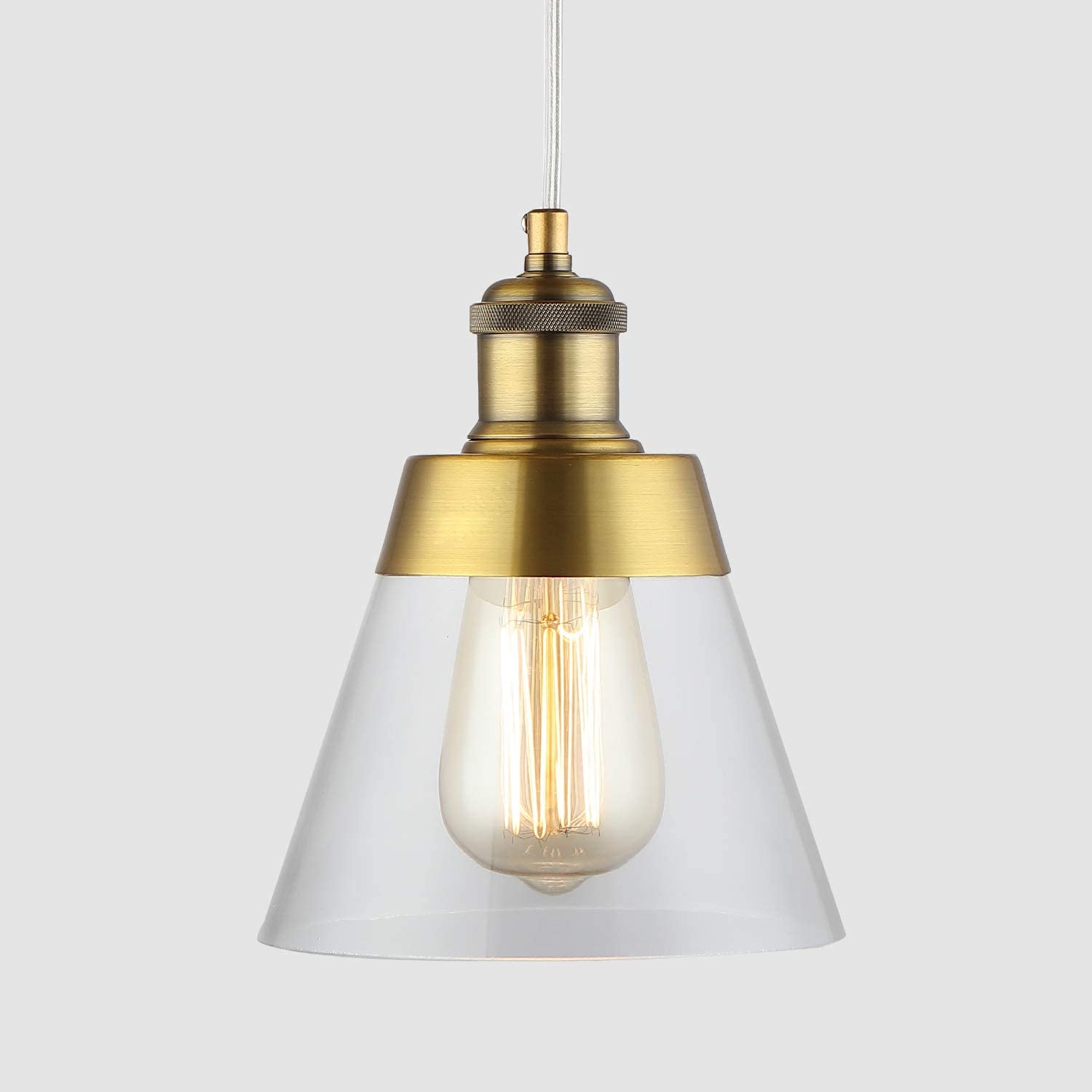 Modern Farmhouse Glass Pendant Light with Handblown Clear Glass Shade, One-Light Adjustable Industrial Vintage Mini Pendant Lighting Fixture for Kitchen Island Cafe Bar, Antique Brass