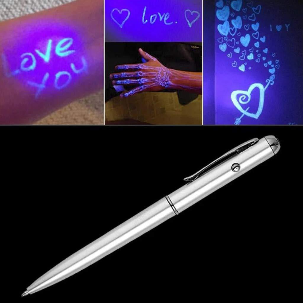 forniture di cancelleria regalo per feste OKEYsoe penna segreta per la scuola con luce UV e scritta invisibile Argento penna a sfera invisibile invisibile alla moda