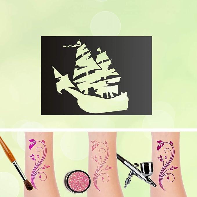 Tattoo Plantilla Barco Pirata purpurina Tatuajes auto-adhesivos ...