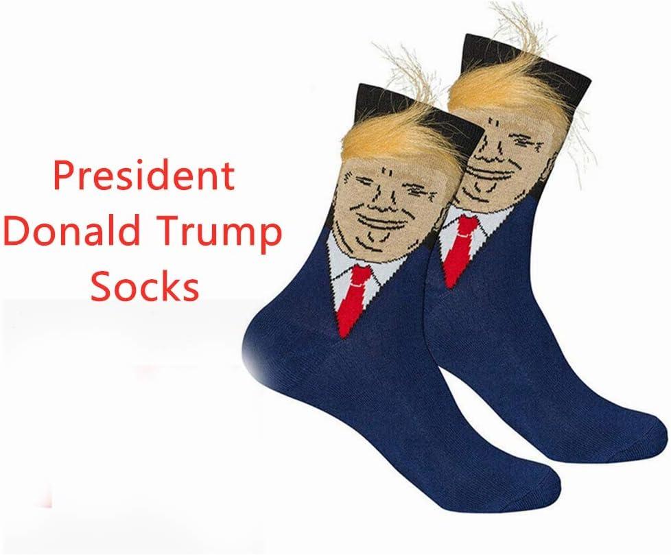 TOOGOO Trump Socks Funny Print Adult Casual Crew Socks 3D Fake Hair Skateboard Socks Chaussette Homme Hip Hop Art Socks