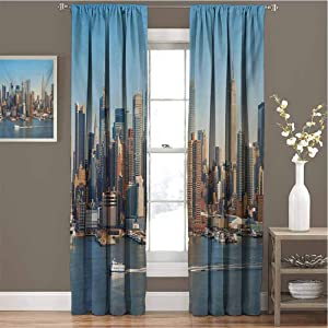 Toopeek Urban Room Darkened Curtain New York City Skyline Over Hudson River Empire State Building Boats and Skyscrapers Insulated Room Bedroom Darkened Curtains W72 x L72 Inch Blue Brown