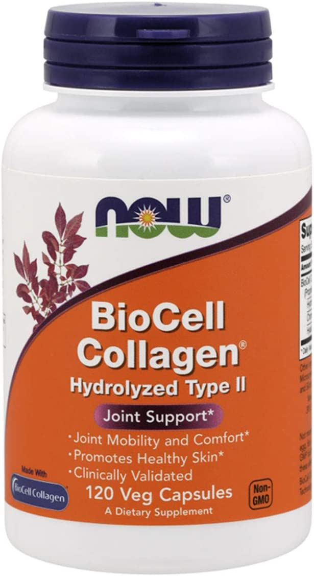 NOW Supplements, BioCell Collagen® Hydrolyzed Type II, Clinically Validated, 120 Veg Capsules