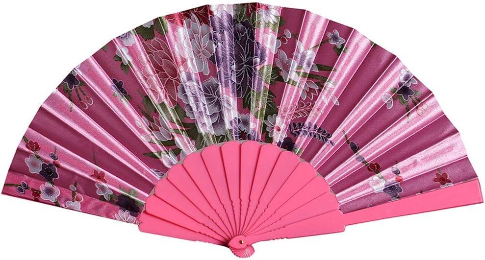 Hot Pink Home Ornament Wedding Party Prop MMLsure Fan Traditional Handmade Exquisite Folding Fan Hand Held Floral Print Fan Retro Chinese Style Folding Fans Silent Fan Decorative Fan