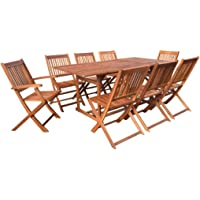 vidaXL 9 Pieces Solid Acacia Wood Outdoor Dining Set Weather Resistant Garden Backyard Lounge Set 8 Folding Chairs 1 Table Patio Furniture