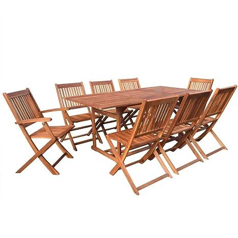 Set Di Sedie Da Giardino.Fesjoy Set Di Sedie Da Giardino In Legno Set Di Sedie Da Giardino 8