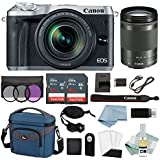 Canon EOS M6 Digital Camera (Silver) With 18-150mm f/3.5-6.3 IS STM Lens + Advanced Accessory Bundle - M6 Canon Mirrorless Camera Includes EVERYTHING You Need To Get Started
