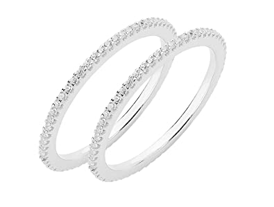 99abed1c5 Amazon.com: Sterling Forever - Two Dainty 925 Sterling Silver CZ ...